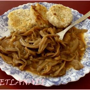 Паприкаш од свежи печурки ( буковки) и шницли од ориз