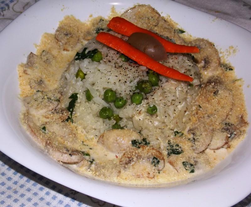 Басмати ориз со прелив од печурки