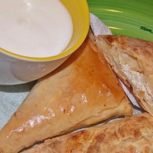 Солени тригони со јогурт и гриз