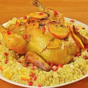 Видео рецепт: Мароканско пилешко со портокал со кус кус салата