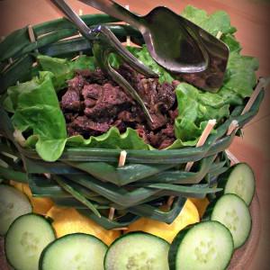 Бел џигер во зеленчукова корпа