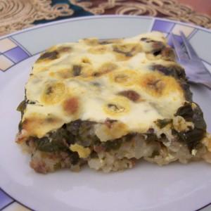 Запечен спанаќ со мелено месо