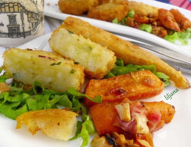 Посен ручек - полпети од компир со ориз со додаток од деликатесни моркови и ослич