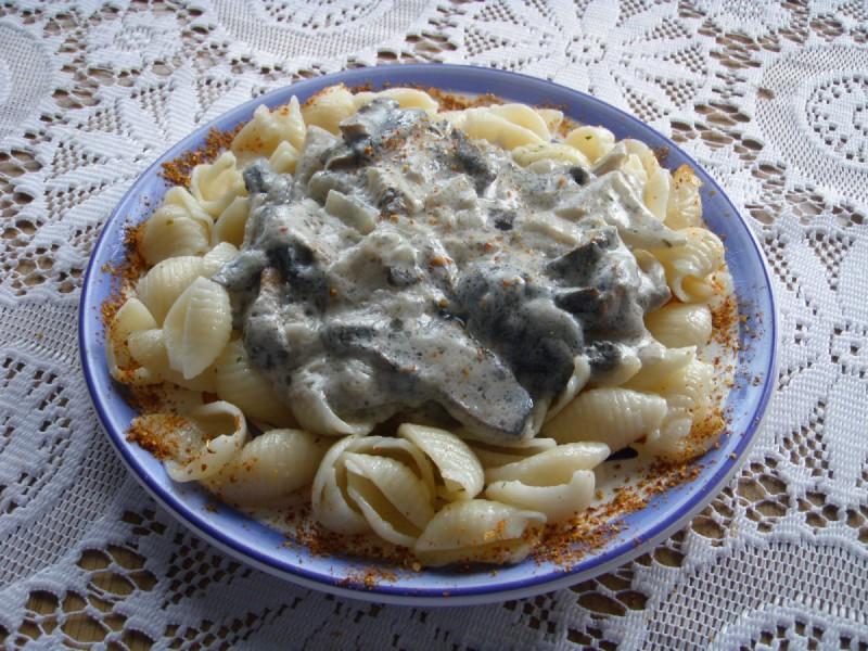 Печурки во павлака со макарони