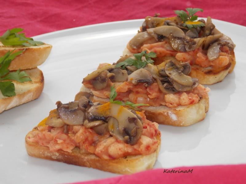 Брускети со грав и печурки