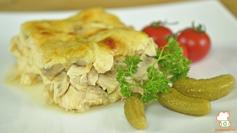 Видео рецепт: Печено пилешко со печурки и пиво
