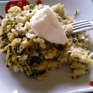 Тава ориз со потпечен спанаќ