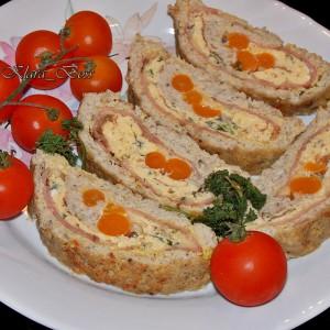 Ролат од мелено мисиркино месо со кајгана