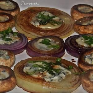 Грилувани кромид и печурки со горгонзола