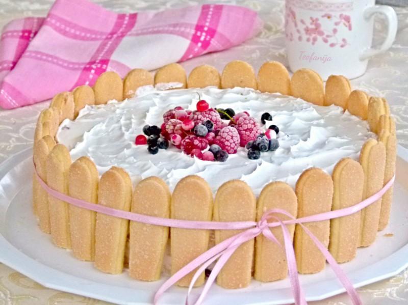 Овошна пишкота торта (без миксер и печење)