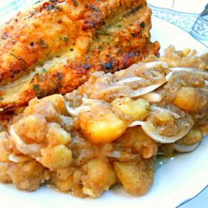 Похувана риба со компир салата (посно)