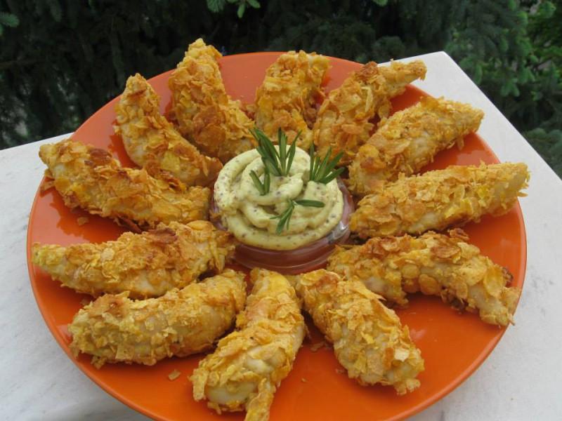 Печено пилешко со корнфлекс