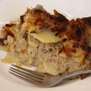 Мусака од модар патлиџан и компир (посно) (Народен кувар 1976)