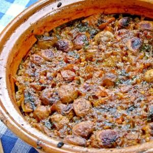 Црвена тава со печурки и ориз (посно)