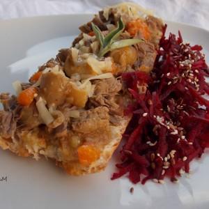 Брускети со телешко месо и печурки