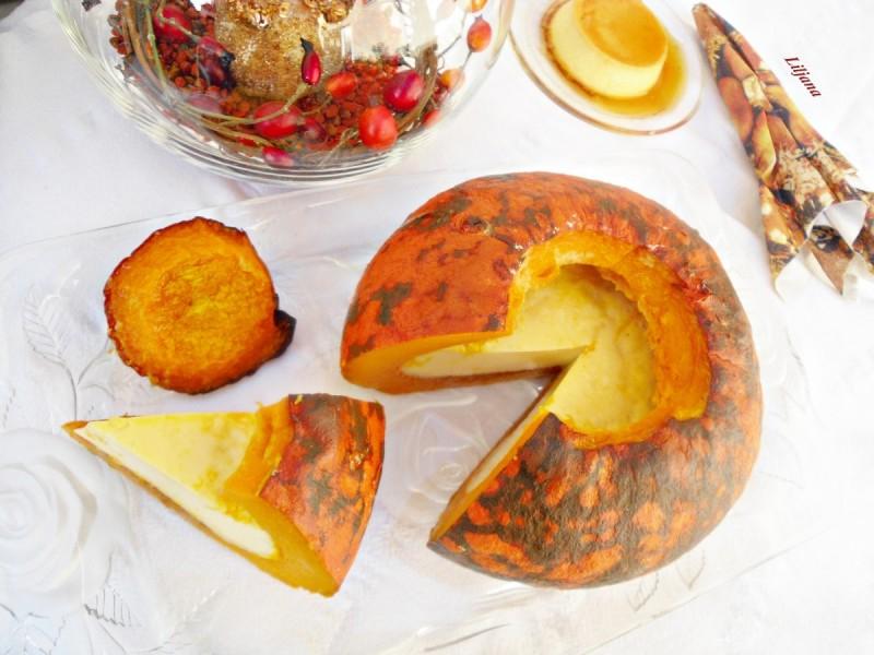 Полнета печена тиква со крем карамел