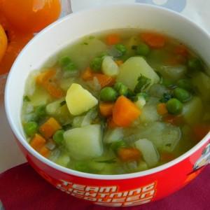 Чорба од компир, грашок и морков (посно, без масло)