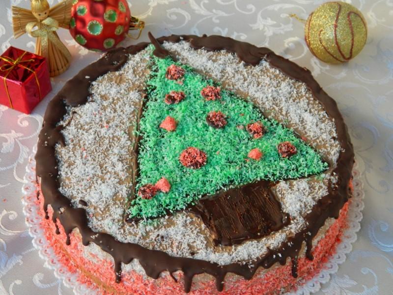 Новогодишна чоколадна кокос торта (посно)