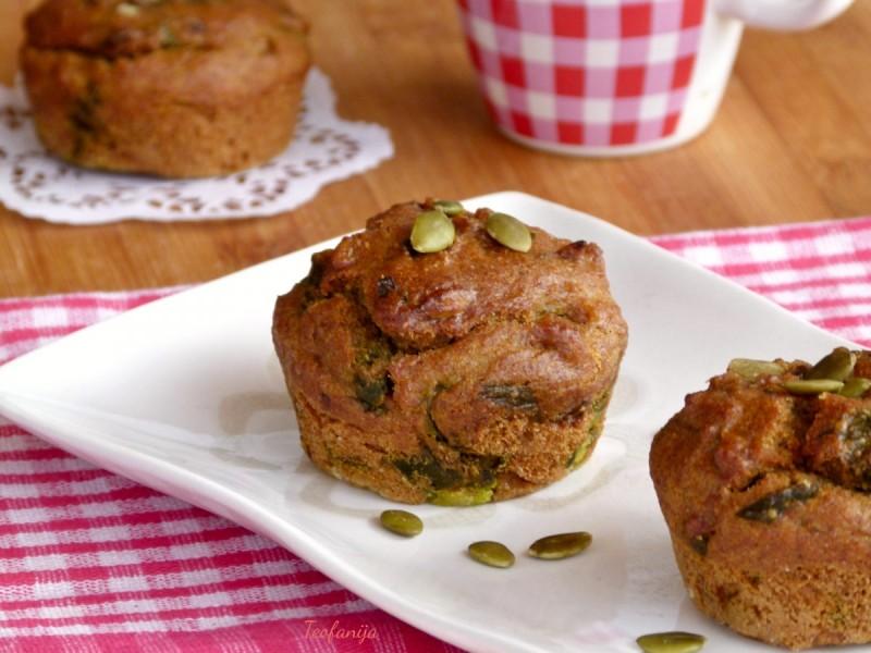 Мафини со спанаќ, печурки и семки од тиква (хроно, посно)