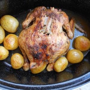Печено пиле во пекач со бело вино