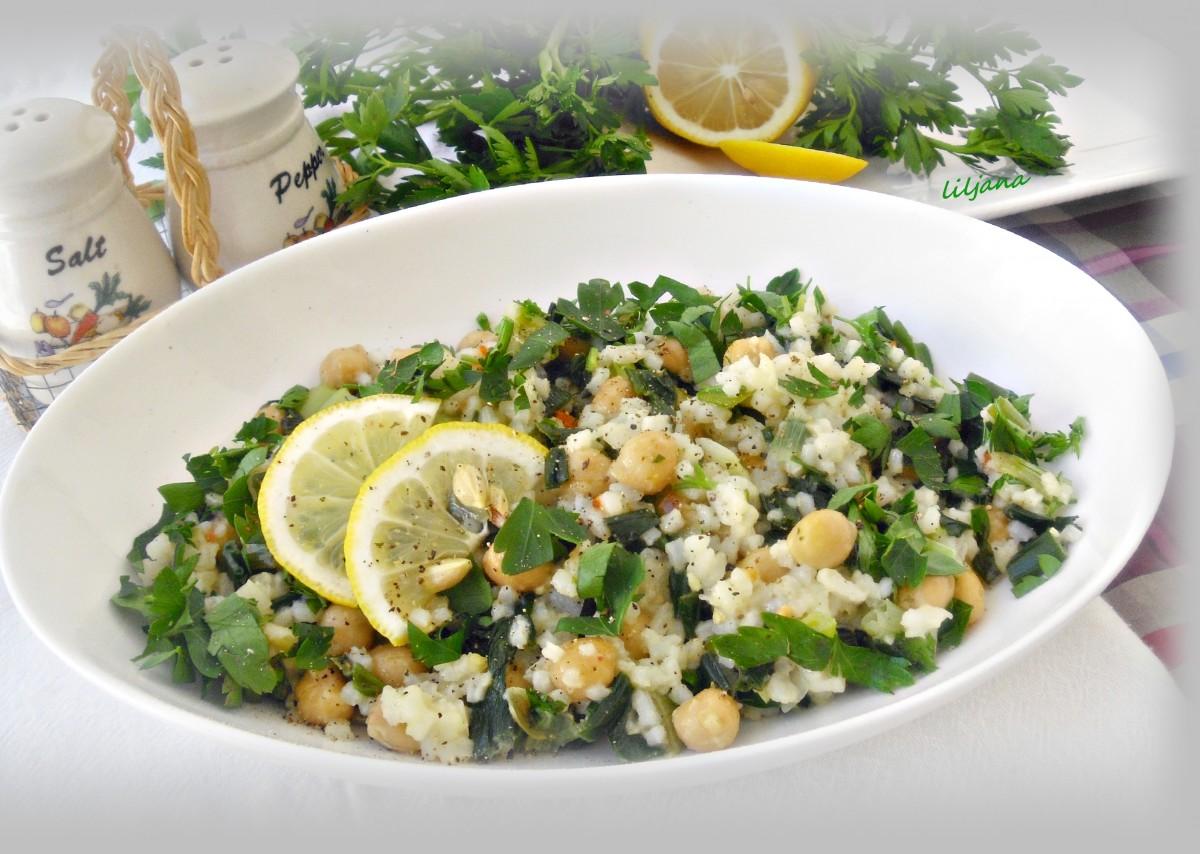 Прилог од млад кромид  наут и ориз