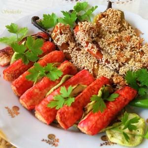 Сурими стапчиња и зеленчук