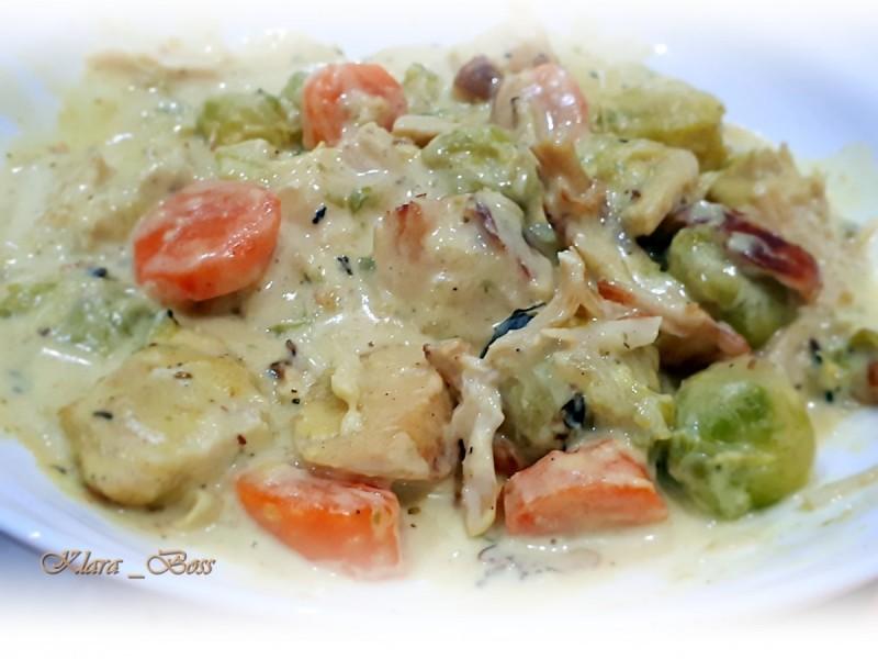 Пилешки стек во зеленчук и бешамел