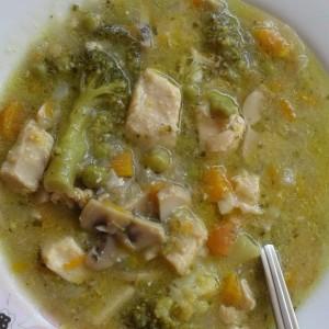Чорба со пилешко, брокула и оригано