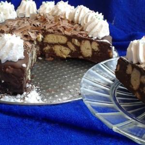 Бисквит торта со крем банани (без печење)