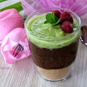 Десерт во чаша со авокадо и локум (посно)