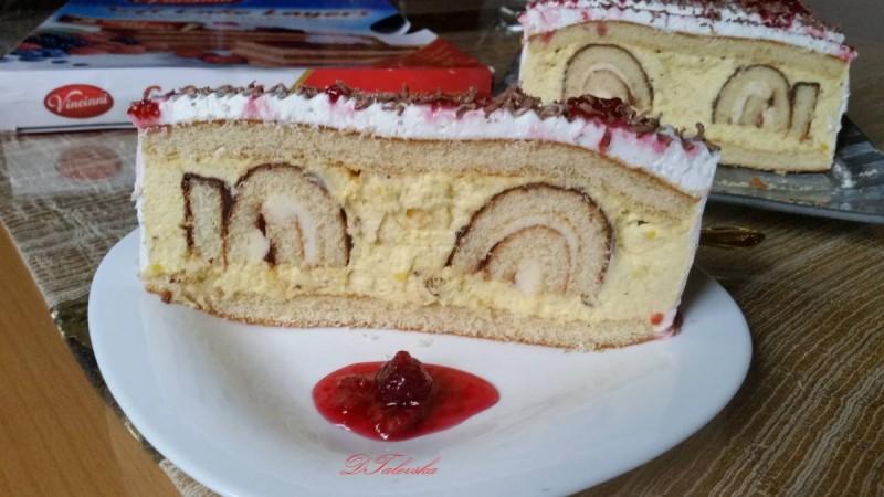 Торта со готови кори и ролат на Винчини (без печење)