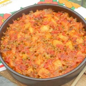 Посно караванче со мешан зеленчук, ориз и грашок