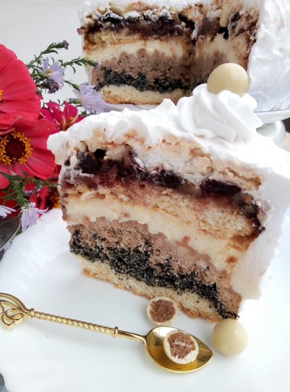 Торта со ореви, афион и вишни (јубилејна торта 200ти рецепт )