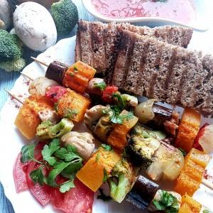 Ражниче со тиква, печурки и зеленчук (посно)