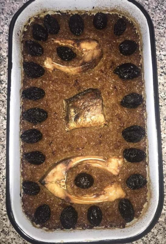 Благ кромид со риба и суви сливи (посно)