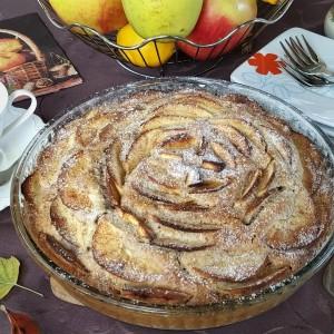 Декоративен колач со јаболка (посно, веган, без миксер)