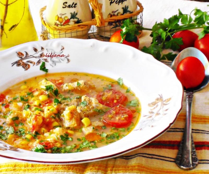 Пикантна супа од домати со пилешко