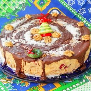 Бисквит торта со банани и кокос