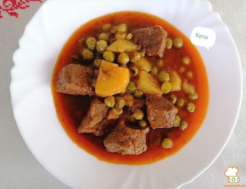 Вариво со грашок и телешко месо